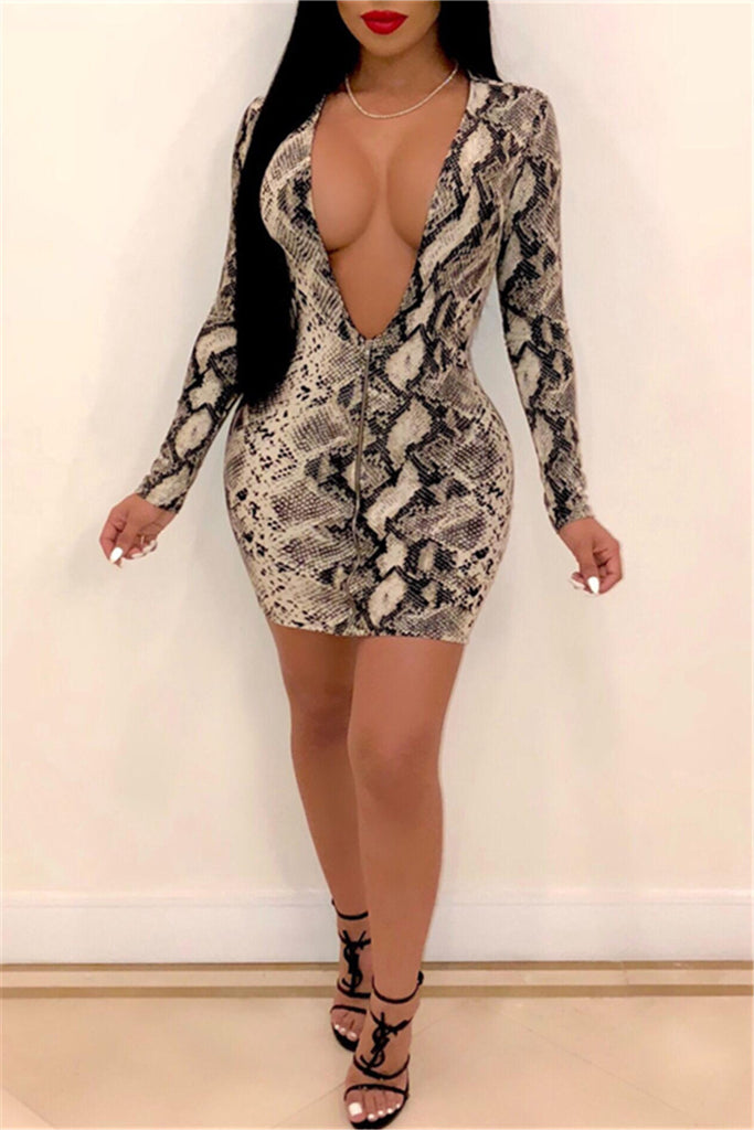 Zip Up Plunging Neckline Long Sleeve Sexy Club Dress
