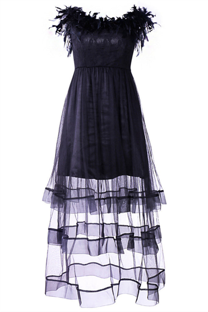 Feather Trim Boat Neck Lace Panel Mesh Bridesmaid Dress