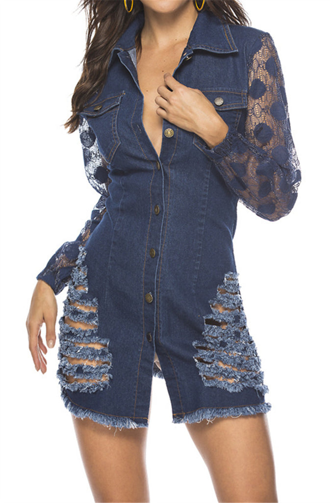 Distressed Lace Sleeve Button Up Denim Dress