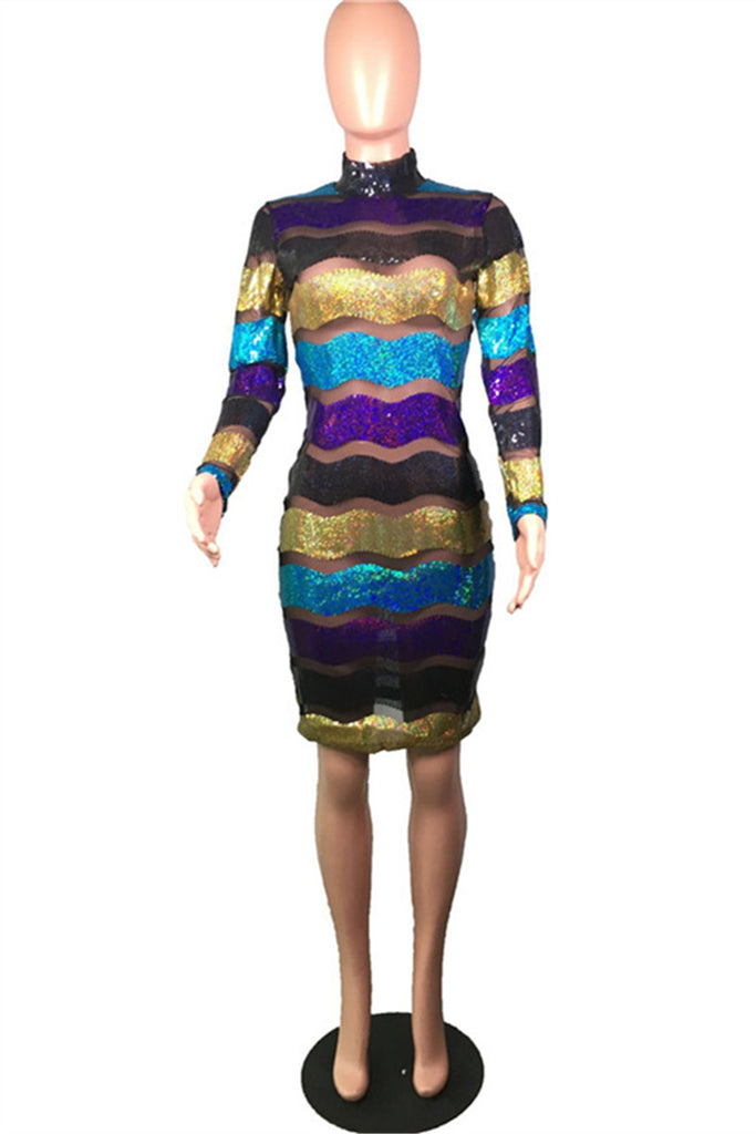 High Neck Semi Sheer Long Sleeve Sequined Sexy Dress