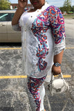 Button Up Half Sleeve Printed Casual Two Piece Outfits