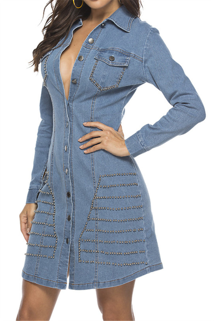 Rivet Decor Long Sleeve Button Up Denim Dress