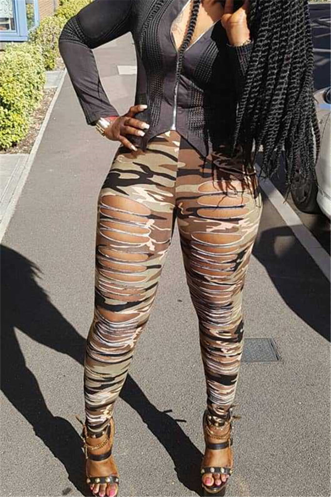 Distressed Hollow Out High Waist Camouflage Pants