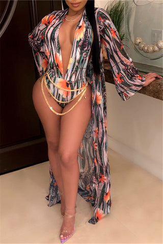 Blue & Gold Print Bathing Suit & Robe