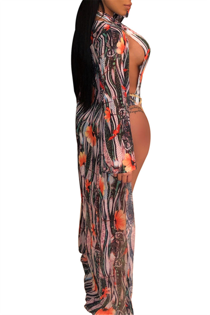 Plunging Neckline Flower Print Swimwear & Cover Up