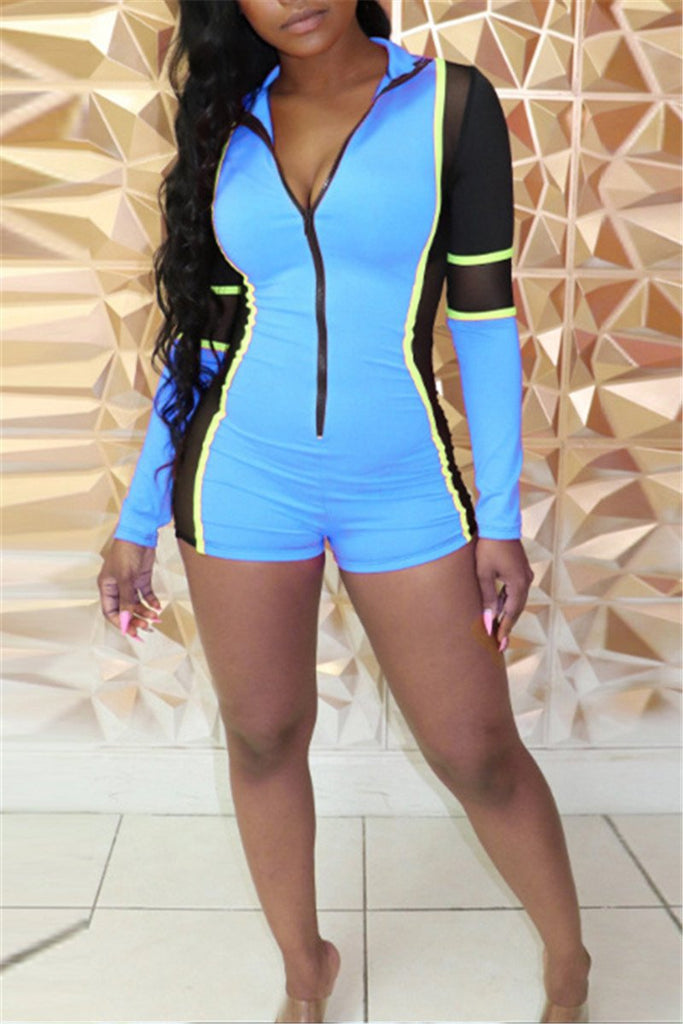 Zip Up Color Patchwork Long Sleeve Romper