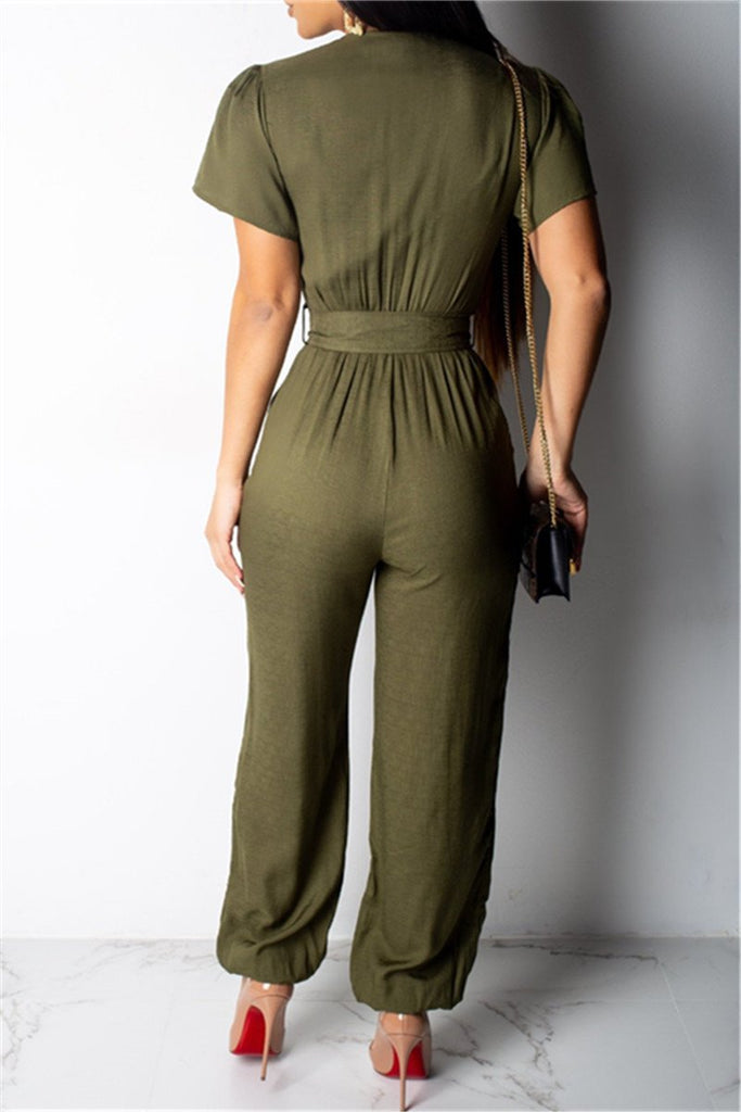 Button Up Short Sleeve Casual Jumpsuit With Belt