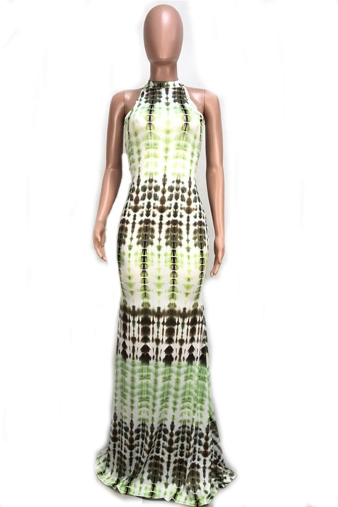 Sleeveless Tie Dye Cutout Maxi Dress