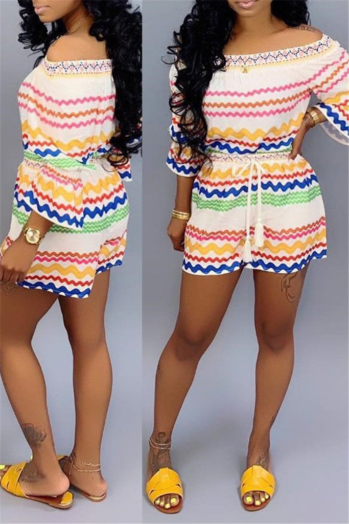 Chevron Print Off the Shoulder Drawstring Two Piece Sets