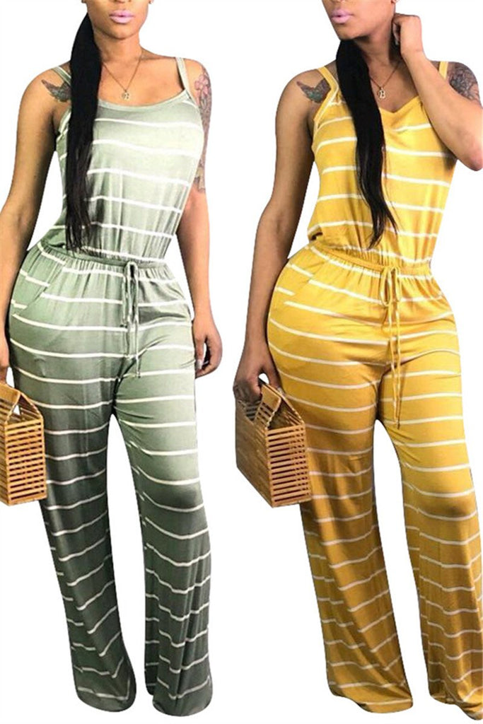 Spaghetti Straps Drawstring Waist Striped Jumpsuit