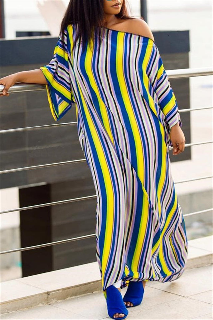 High Slit Skew Neck Striped Maxi Dress