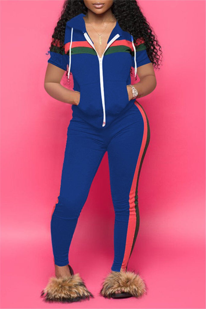 Zip Up Plus Size Patchwork Casual Two Piece Sets