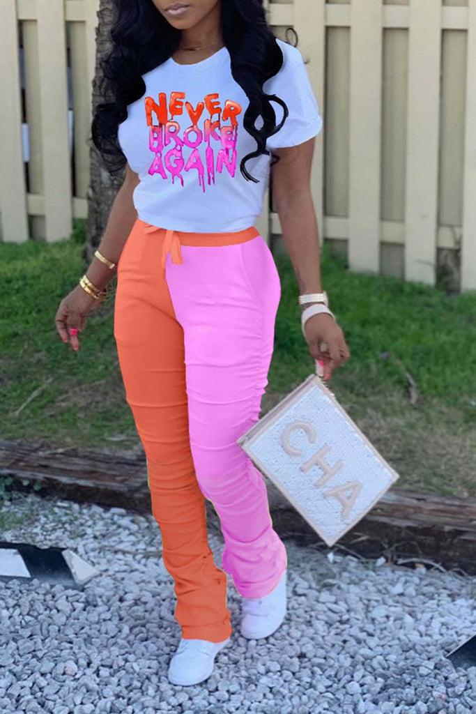 Wrinkled Color Block Short Sleeve Top & Pants