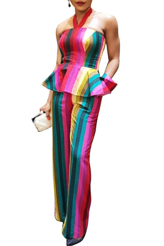 Rainbow Stripe Peplum Waist Halter Two Piece Outfits