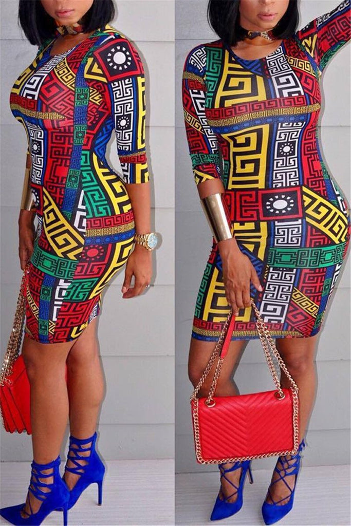 Plus Size Round Neck Printed Mini Dress