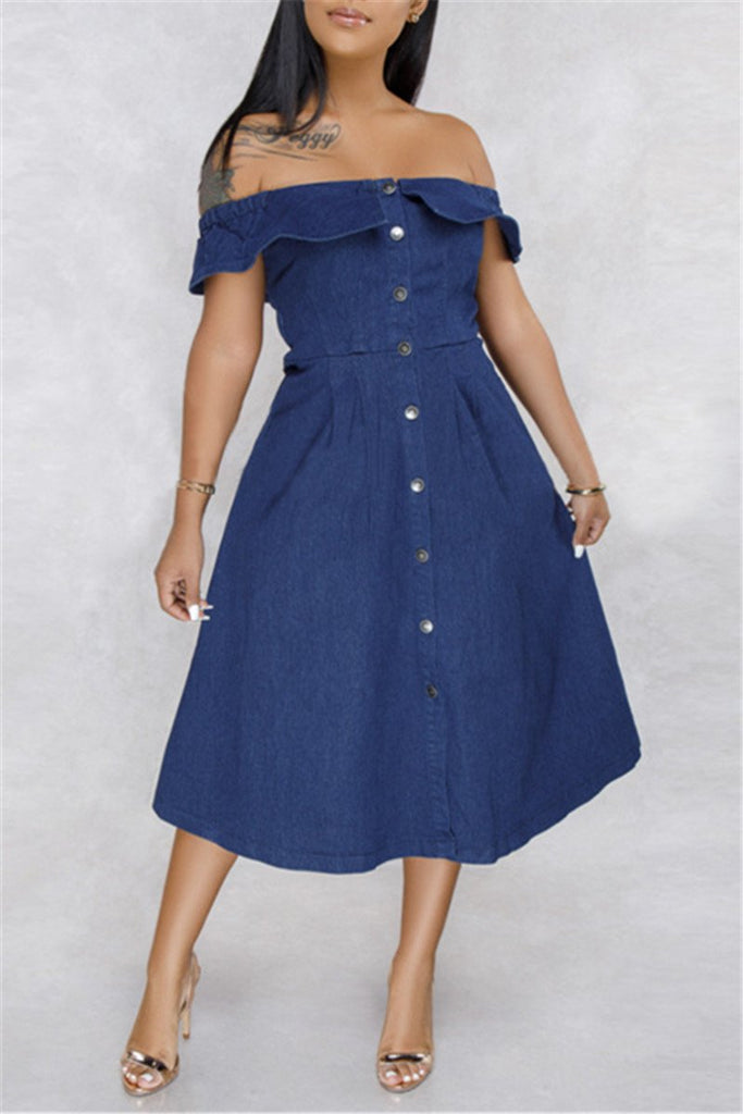 Off the Shoulder Button Denim Midi Dress