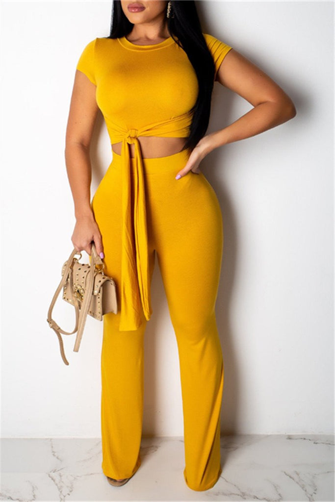 Tie Up Solid Color Short Sleeve Two Piece Outfits