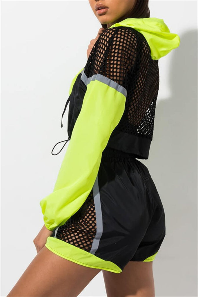 Mesh Patchwork Hooded Collar Casual Two Piece Outfits