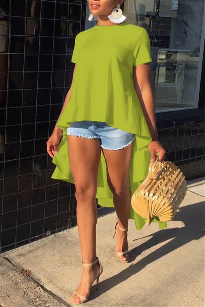 Solid Color Short Sleeve High Low Top