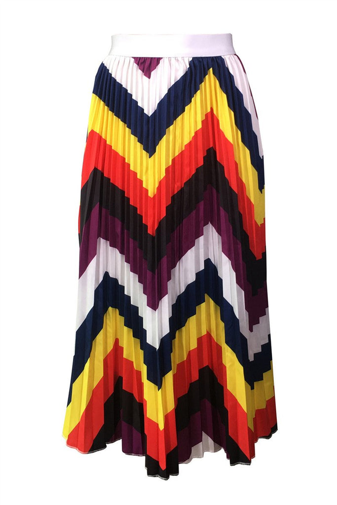 Rainbow Chevron Print High Waist Pleated Skirt