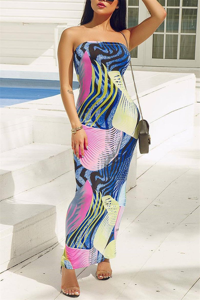 Open Back Printed Strapless Maxi Dress