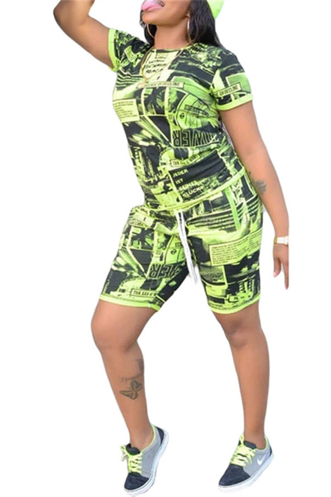 Drawstring Waist Short Sleeve Printed Two Piece Sets