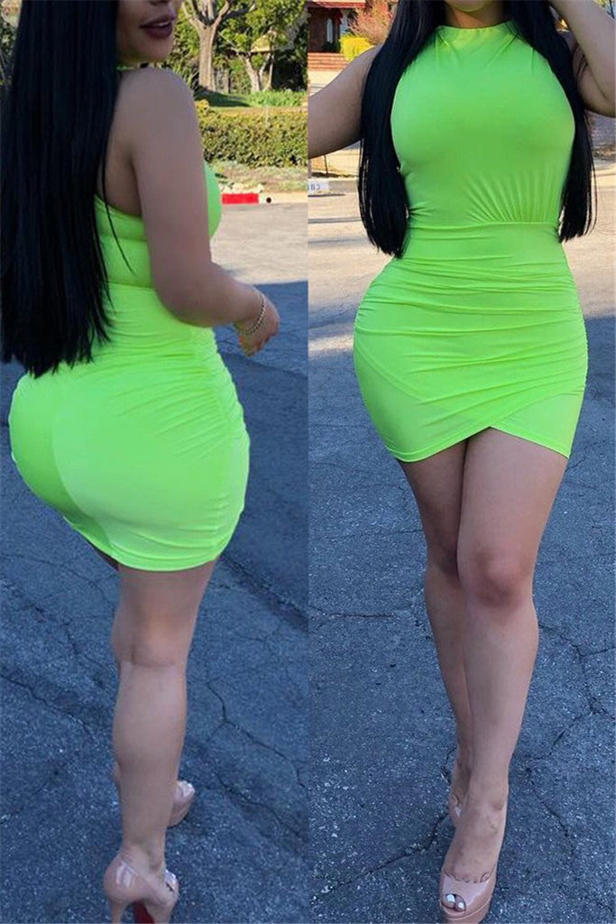 Sleeveless Solid Color Mini Dress