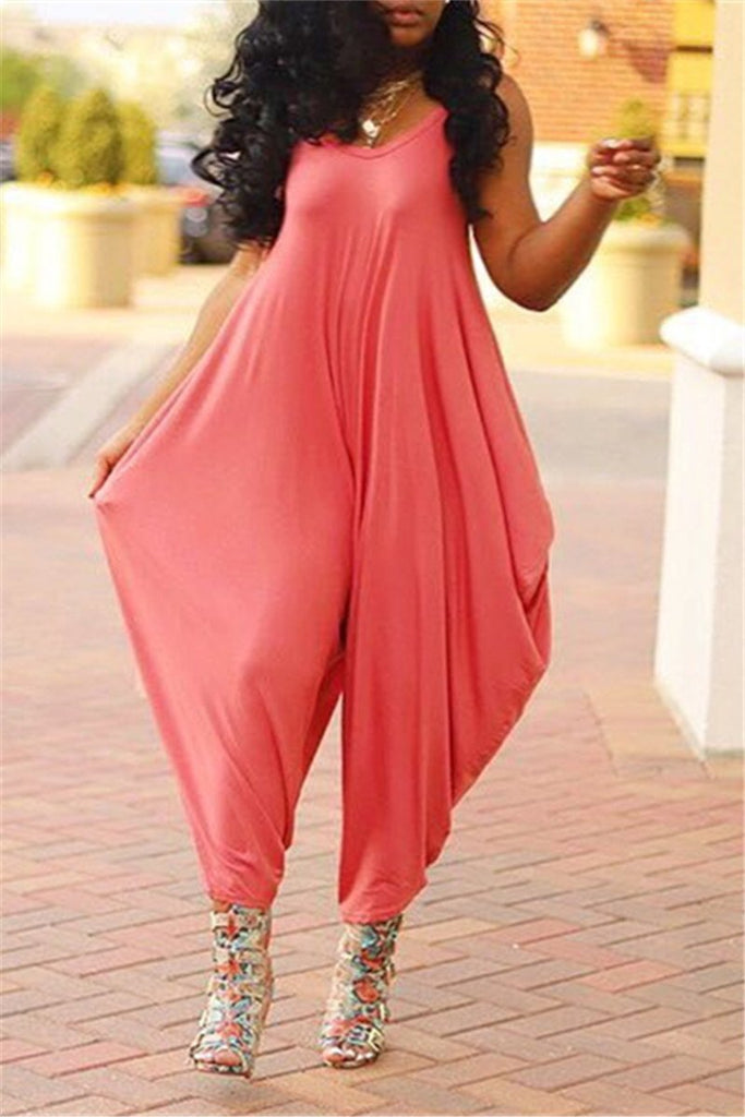 Solid Color Spaghetti Straps Harem Jumpsuit
