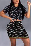 Letter Print Short Sleeve Knotted Two Piece Dress