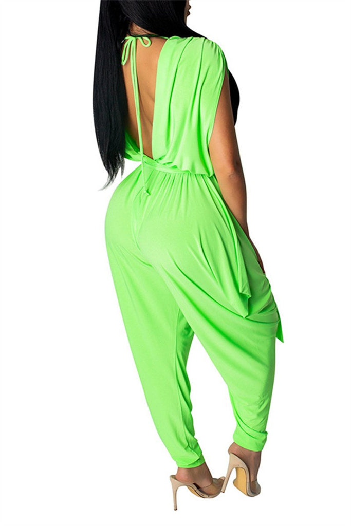 Solid Color Open Back Sleeveless Harem Jumpsuit