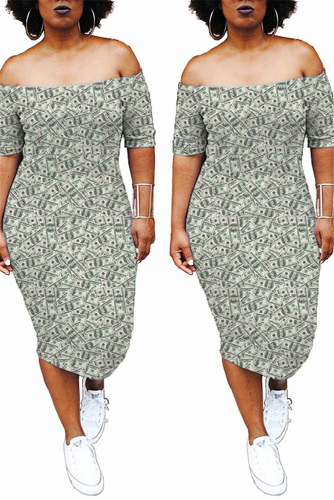 Dollar Print Off the Shoulder Midi Dress
