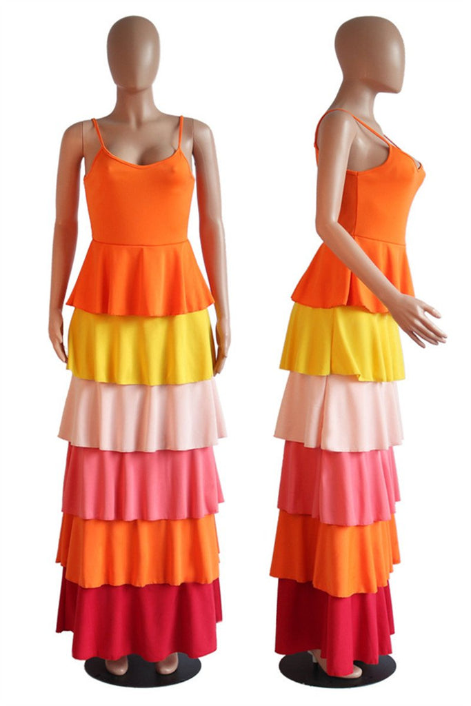Spaghetti Straps Colorful Tiered Maxi Dress
