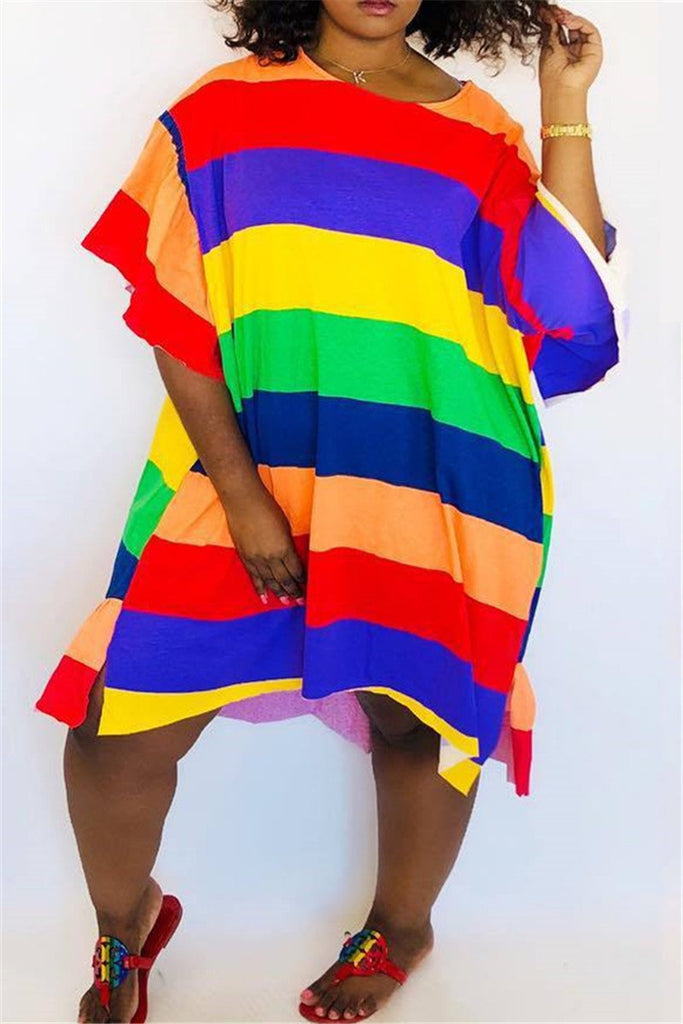 Rainbow Stripe Flare Sleeve Casual Asymmetric Dress