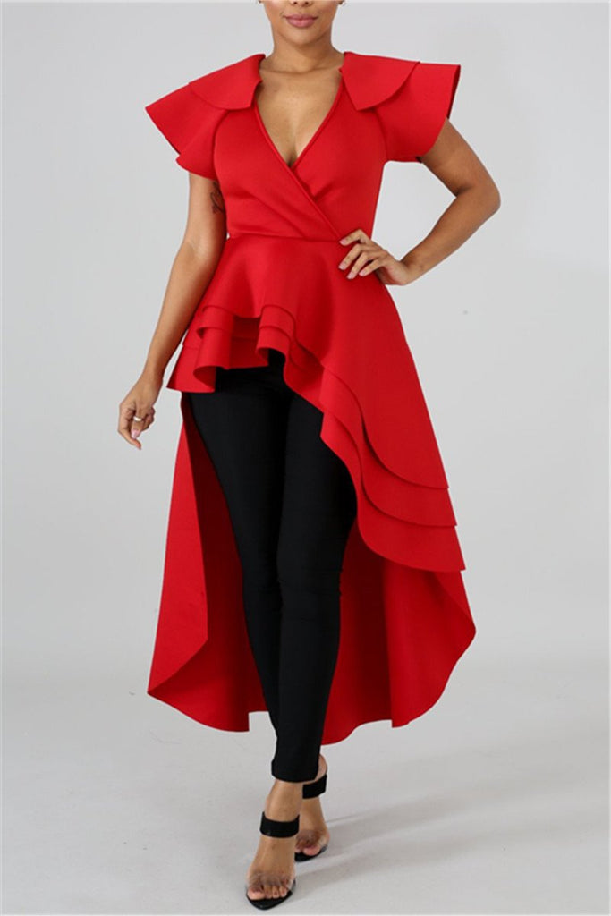 Ruffle Sleeve Solid Color High Low Dress