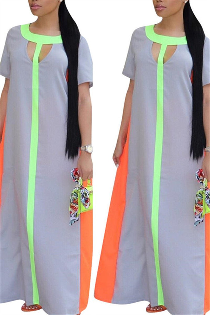 Keyhole Neckline Patchwork Maxi Dress