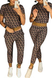 Printed Short Sleeve Casual Two Piece Sets