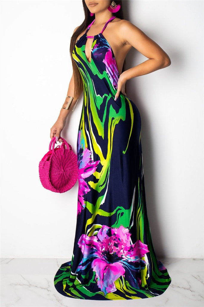 Open Back Flower Print Maxi Dress