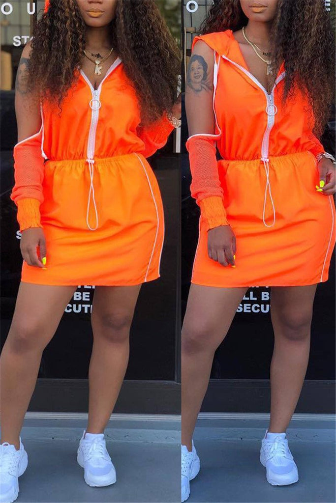 Cold Shoulder Zip Up Hooded Two Piece Dress