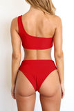 Solid Sexy One Shoulder Two Pieces Swimwear