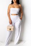 Strapless High Waist Solid Color Two Piece Sets