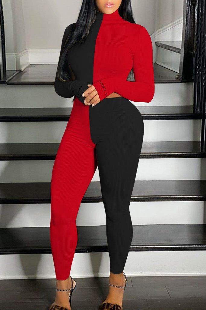 High Neck Color Block long sleeve Two Piece Sets
