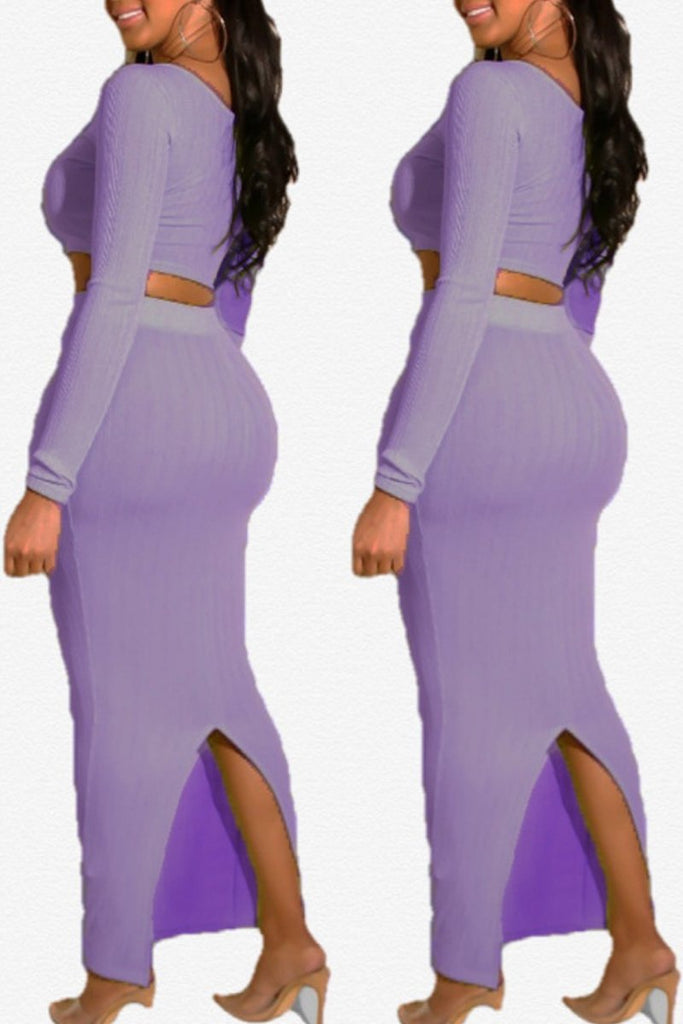 Solid Split Neck Slit Hem Long Sleeve Two Piece Maxi Dress