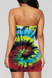 Tie Dye Strapless Cartoon Print Mini Dress