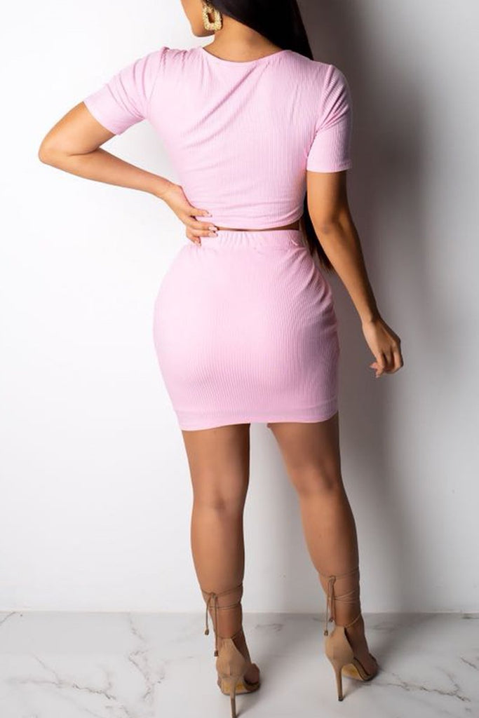 Solid Color Square Collar Bandage Two Piece Mini Dress