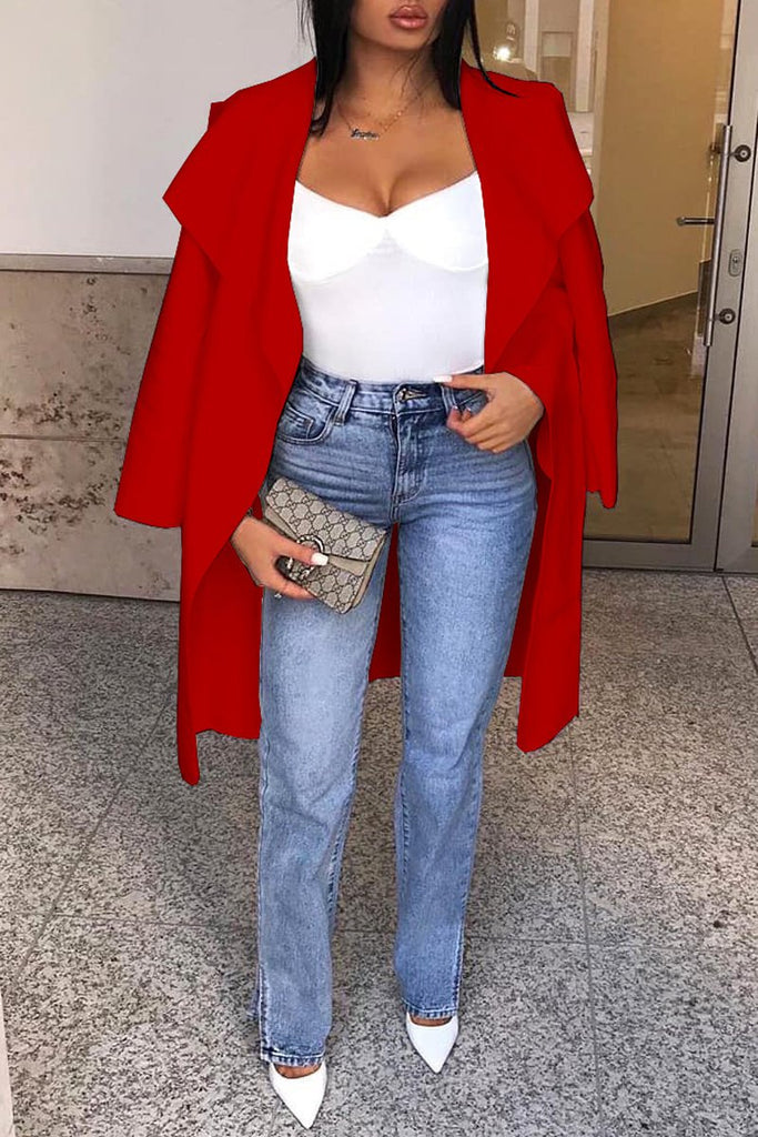Wide Lapel Solid Color Long Sleeve Cardigan
