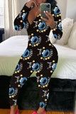 Digital Print V-neck Long Sleeve Jumpsuit