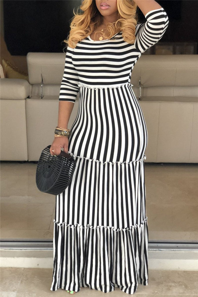 892761f587f Stripe Print High Waist Maxi Dress – WHATWEARS