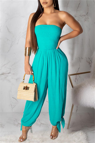 Whatwears coupon: Solid Color Strapless Jumpsuit
