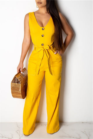 Whatwears coupon: V Neck Sleeveless Belted Jumpsuit
