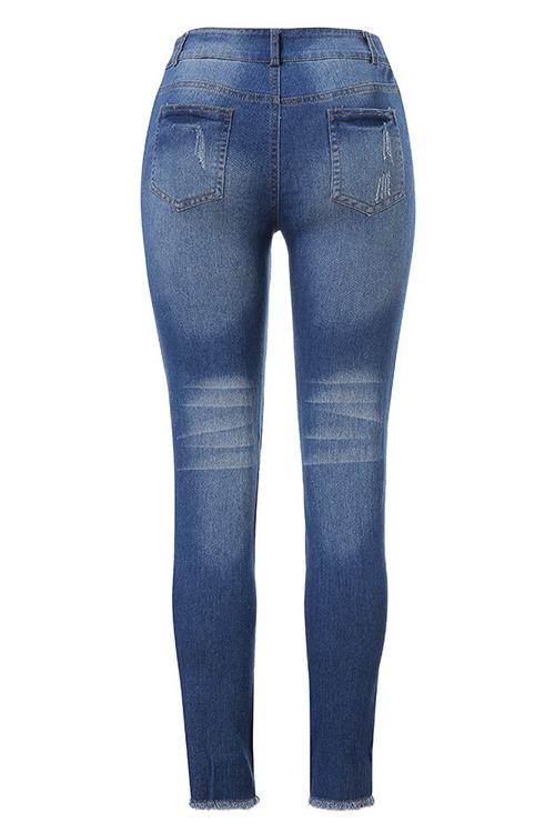 Distressed Mid Wash Skinny Jeans